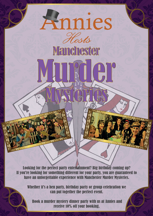 Murder mystery parties at Annies poster